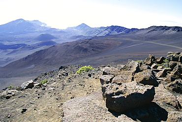 Part of the vast crater of 10023 ft Haleakala, the world's largest dormant volcano, seen from Sliding Sands trail, Maui, Hawaii, Hawaiian Islands, United States of America (U.S.A.), North America