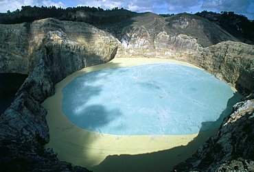 One of three crater lakes at the summit of Kelimutu volcano near Moni, soil chemical creates the unusual colours, island of Flores, Indonesia, Southeast Asia, Asia