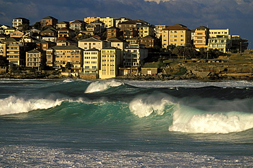 Big winter swell at famous Bondi Beach in the Eastern Suburbs, Sydney, New South Wales, Australia