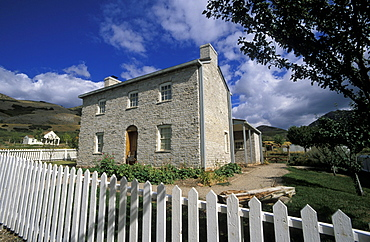 Stone house in Old Deseret Village, a recreated mid 19thC Mormon pioneer town at the 'This Is The Place'  Heritage Park that celebrates the Mormon arrival in 1847, Salt Lake City, Utah , Usa