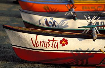Canoes on the seafront of the capital city centre, Efate Island, Port Vila, Vanuatu