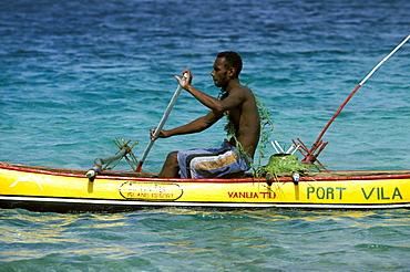 Canoe on Vila bay, just off Port Vila, Port Vila, Efate Island, Vanautu