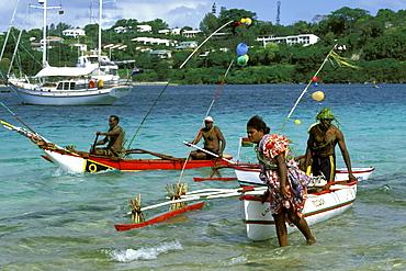 Canoes landing on Iririki Island, just off Port Vila, Efate Island, Port Vila, Vanuatu