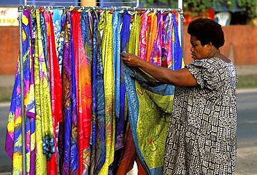 Woman at her souvenir stall in the capital city centre, Efate Island, Port Vila, Vanuatu