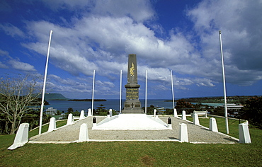First World War Memorial above the city centre and Vila Bay, Efate Island, Port Vila, Vanuatu
