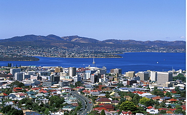 Looking east towards the centre of the state capital and the River Derwent, Hobart, Tasmania, Australia, Pacific