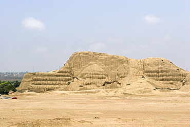 The Huaca del Sol, an adobe brick temple pyramid of the Moche people (100BC-AD850) in the desert north, probably the largest adobe structure in pre-Columbian America, Huaca del Sol, Trujillo, Peru, South America