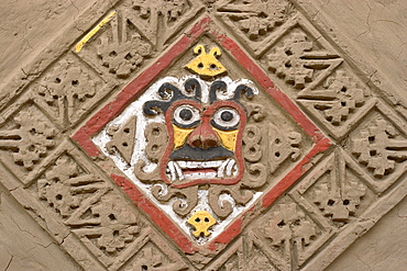 Rhomboid design with demon's face in the well-preserved murals at this adobe brick temple pyramid of the Moche people (100BC-AD850) in the desert north, Huaca de la Luna, Trujillo, Peru, South America
