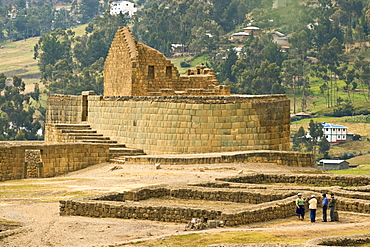 Ceremonial Plaza and the unique elliptical structure of the Temple of the Sun, which exhibits classic Inca mortar-less stonework, at Ecuador's most important Inca site, Ingapirca, Canar Province, Southern Highlands, Ecuador, South America