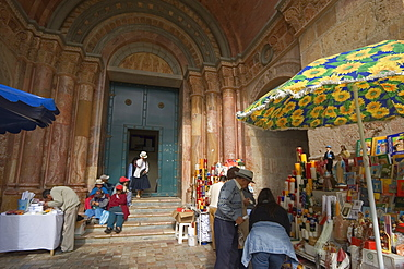 Stall selling Catholic paraphenalia at the entrance to the new Catedral de la Inmaculada Concepcion built in1885, Cuenca, Azuay Province, Southern Highlands, Ecuador, South America