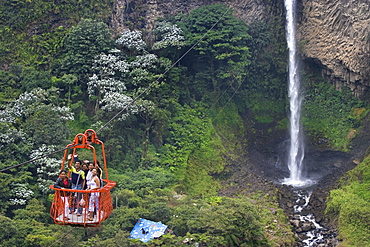 Cable car at the Rio Verde waterfall in the valley of the Pastaza River that flows from the Andes to the upper Amazon Basin, near Banos, Ambato Province, Central Highlands, Ecuador, South America