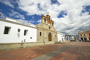 Baroque mestizo limestone facade of the Cathedral in this colonial-style provincial capital, Riobamba, Chimborazo Province, Central Highlands, Ecuador, South America