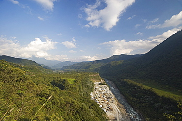 Part of the $300 million, 230 megawatt San Francisco hydroelectric project that extends the existing Agoyan power station in the Rio Pastaza valley, downstream of Banos, Ambato Province, Central Highlands, Ecuador, South America