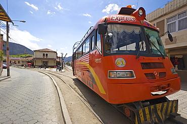 The express alternative to the famous El Nariz del Diablo (The Devil's Nose) train ride, in this busy market town, Alausi, Chimborazo Province, Central Highlands, Ecuador, South America
