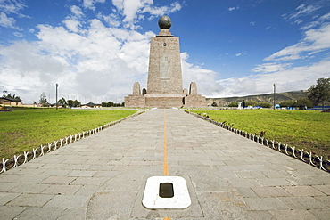 West side of the 30m pyramidal monument marking the equator, first identified in this district by Charles Marie de la Condamine in 1736, La Mitad del Mundo, San Antonio, Pichincha Province, Ecuador, South America