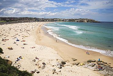 Looking across Bondi Beach in the Eastern Suburbs towards North Bondi, Bondi, Sydney, New South Wales, Australia, Pacific