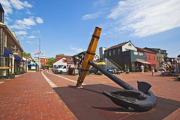Antique anchor at Bowen's Wharf, established in 1760 and now a busy waterfront retail and tourist centre, Newport, Rhode Island, New England, United States of America, North America