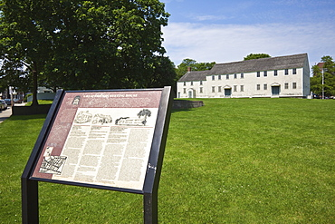 Sign on the Walking Tour of the Historic Hill at The Great Friends Meeting House dating from 1699, a Quaker building in the Postmedieval English vernacular style, oldest surviving house of worship in town, on Farewell and Marlborough Streets in historic Newport, Rhode Island, New England, United States of America, North America