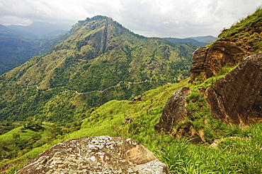 View from Little Adam's Peak across Ella Gap to Ella Rock and highway to the south coast, Ella, Central Highlands, Sri Lanka, Asia