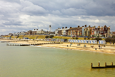 Seafront of this attractive town with the lighthouse, North Parade and the famously pricey beach huts, Southwold, Suffolk, England, United Kingdom, Europe