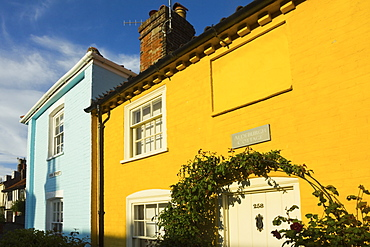 Colourful cottages at the south end of the High Street of this popular unspoiled seaside town, Aldeburgh, Suffolk, England, United Kingdom, Europe