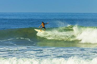 Surfer riding a wave at popular Playa Guiones surf beach, Nosara, Nicoya Peninsula, Guanacaste Province, Costa Rica, Central America