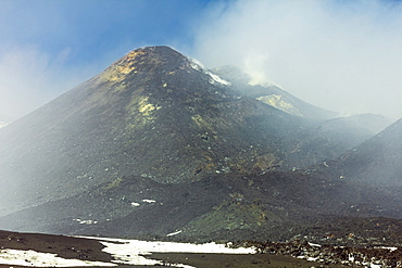 Ash, rock and sulphur at the smoking summit of 3350m high volcano Mount Etna during an active phase, Mount Etna, UNESCO World Heritage Site, Sicily, Italy, Mediterranean, Europe