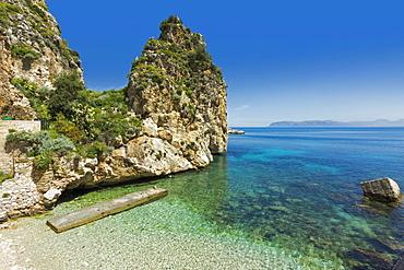 Lovely limestone cove at the Tonnara di Scopello, an old tuna fishery and now a popular beauty spot, Scopello, Trapani, Sicily, Mediterranean, Europe