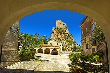 Old tower and buildings at the Tonnara di Scopello, an old tuna fishery and now a popular beauty spot, Scopello, Trapani, Sicily, Mediterranean, Europe
