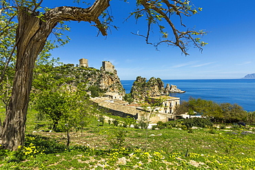 Old towers and buildings at the Tonnara di Scopello, an old tuna fishery and now a popular beauty spot, Scopello, Trapani, Sicily, Mediterranean, Europe