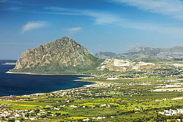 The 659m limestone Monte Cefano Nature Reserve and Custonaci marble quarries, on the coastline north east of Trapani, Custonaci, Sicily, Italy, Mediterranean, Europe