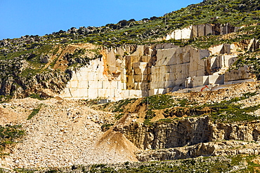 Quarry for highly prized Pearl Marble, a major export, used in the Kennedy Center New York, Custonaci, Trapani, Sicily, Italy, Europe