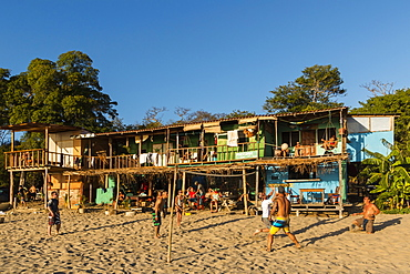 Volley ball and hostel at this lively surf vibe beach north of San Juan del Sur, Playa Maderas, San Juan del Sur, Rivas, Nicaragua, Central America