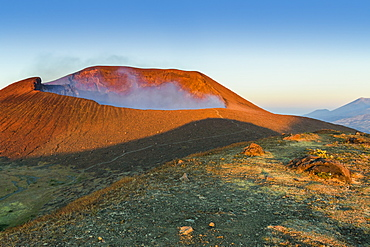 Smoking 700m wide crater of Volcan Telica in the North West volcano chain, one of the country's most active volcanoes, Leon, Nicaragua, Central America