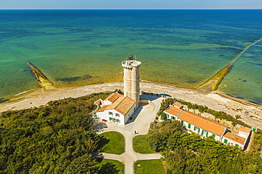 The old Phare des Baleines (Lighthouse of the Whales) dating from 1682, and museum, on west tip of the island, Ile de Re, Charente-Maritime, France, Europe