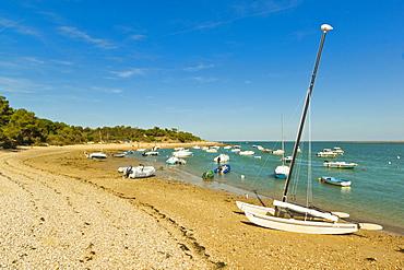 Boats moored in the entrance to Fier d Ars by the beach at La Patache, Les Portes-en-Re, Ile de Re, Charente-Maritime, France, Europe