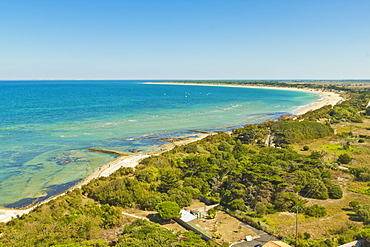View east from Le Phare des Baleines (Lighthouse of the Whales) at west tip of the island, Ile de Re, Charente-Maritime, France, Europe