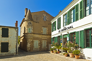 Hotel Senechal on Rue Gambetta in the island's principal western town. Ars en Re, Ile de Re, Charente-Maritime, France, Europe