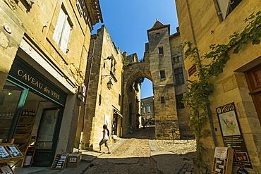 Cave wine shops on Rue de la Cadene in this historic town and famous Bordeaux red wine region, Saint Emilion, Gironde, France, Europe