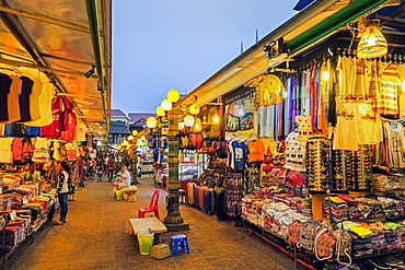Stalls of tourist souvenirs in the Art Center Night Market in the centre of this north west tourist town, Siem Reap, Cambodia, Indochina, Southeast Asia, Asia