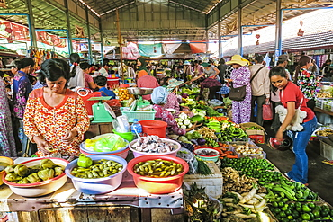 Vegetable stall at the central market in this old formerly French colonial river port city, Kampot, Cambodia, Indochina, Southeast Asia, Asia