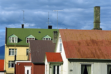 Typical colourful corrugated buildings which are a familiar sight in the city centre of Reykjavik, Iceland, Polar Regions