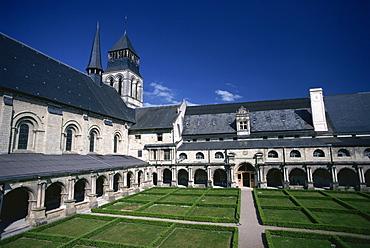 Ste.-Marie Cloisters at the abbey of Fontevraud, Pays de la Loire, France, Europe