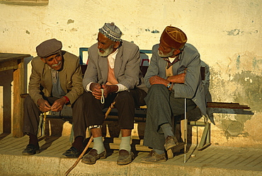 Old men with worry beads, Kas, Anatolia, Turkey, Asia Minor, Eurasia