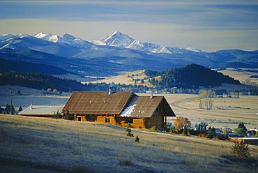 Log cabin, Philipsburg, Granite County, Rocky Mountains, Montana, USA