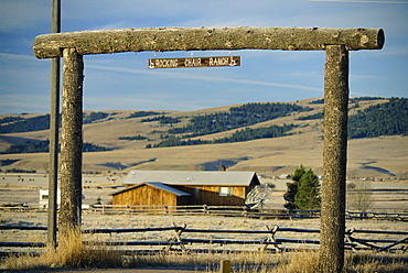 Ranch gate to Rocking Chair Ranch, near Philipsburg, Granite County, west Montana, United States of America, North America