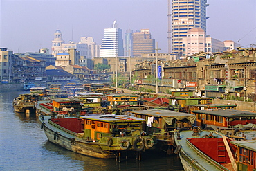 Barges on the Huangpu River, Shanghai, China
