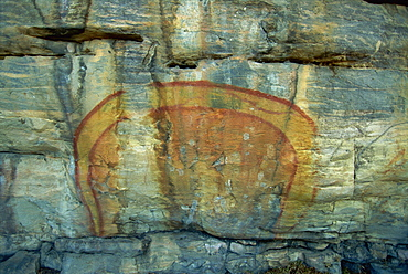 Rainbow Serpent at the Aboriginal rock art site at Ubirr Rock, Kakadu National Park, where paintings date from 20000 years old to present day, UNESCO World Heritage Site, Northern Territory, Australia, Pacific