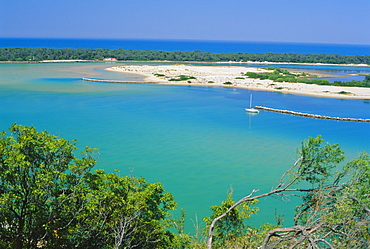 Lakes Entrance, the seamouth of the Lakes District, Australia's largest inland waterway on the coast of Gippsland in east of the state, Victoria, Australia