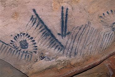 Aboriginal charcoal paintings at Yourambulla Rock Shelter, near Hawker, including emu and kangaroo tracks, South Australia, Australia, Pacific
